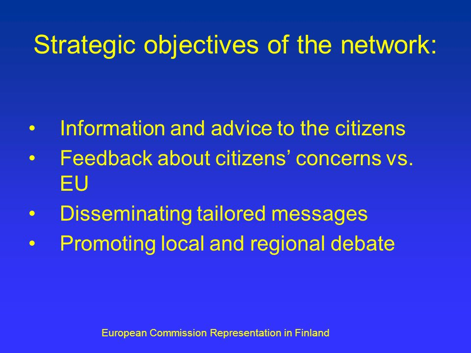 Strategic objectives of the network: Information and advice to the citizens Feedback about citizens concerns vs.