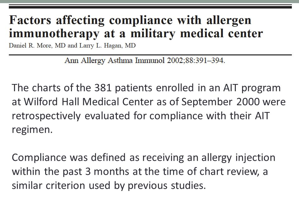 The charts of the 381 patients enrolled in an AIT program at Wilford Hall Medical Center as of September 2000 were retrospectively evaluated for compliance with their AIT regimen.