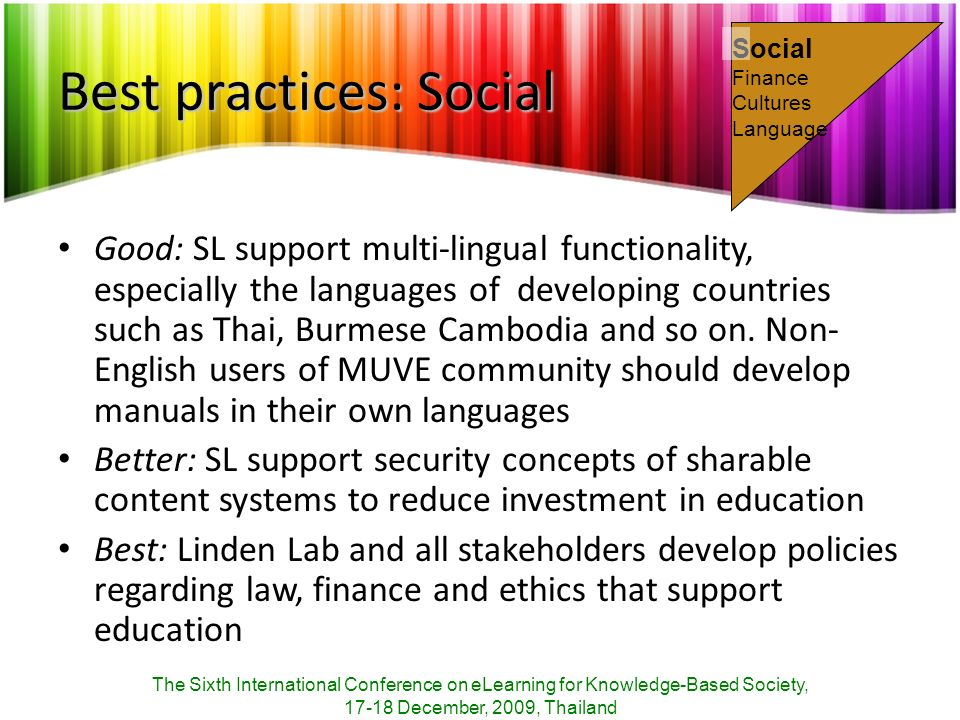 Best practices: Social Good: SL support multi-lingual functionality, especially the languages of developing countries such as Thai, Burmese Cambodia a