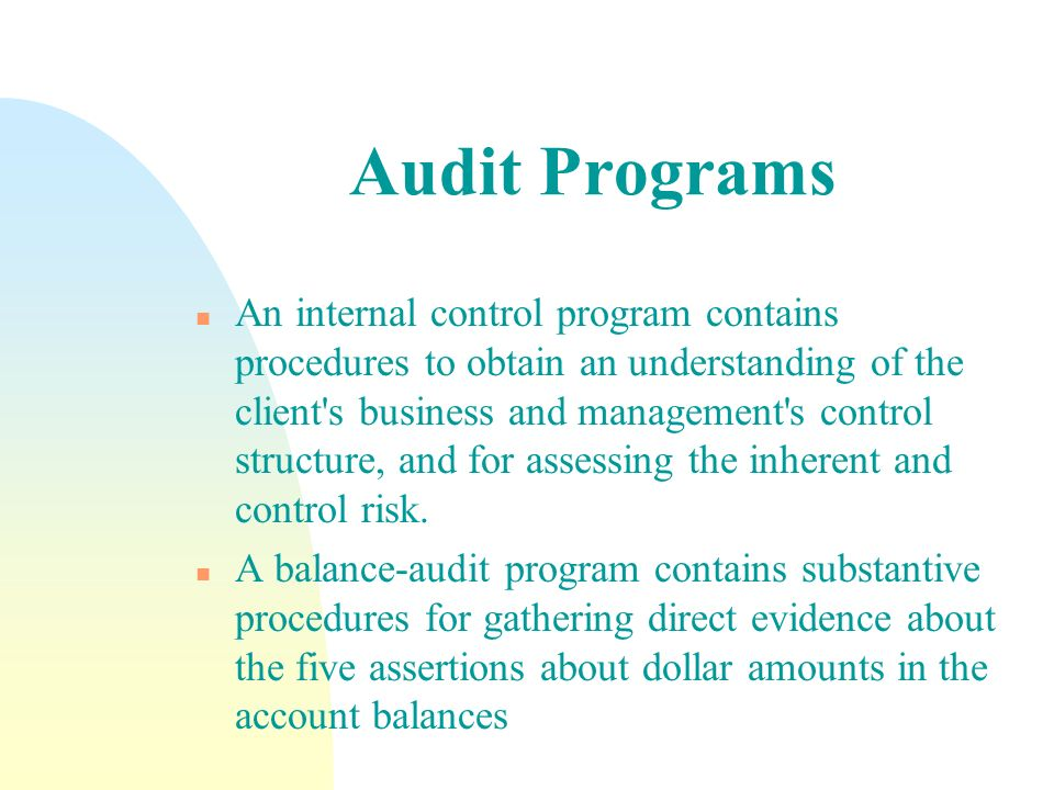 Audit Programs n An internal control program contains procedures to obtain an understanding of the client's business and management's control structur
