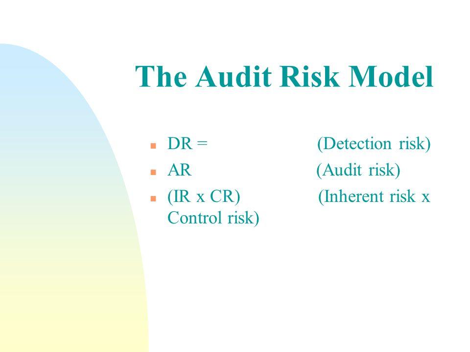The Audit Risk Model n DR = (Detection risk) n AR (Audit risk) n (IR x CR) (Inherent risk x Control risk)