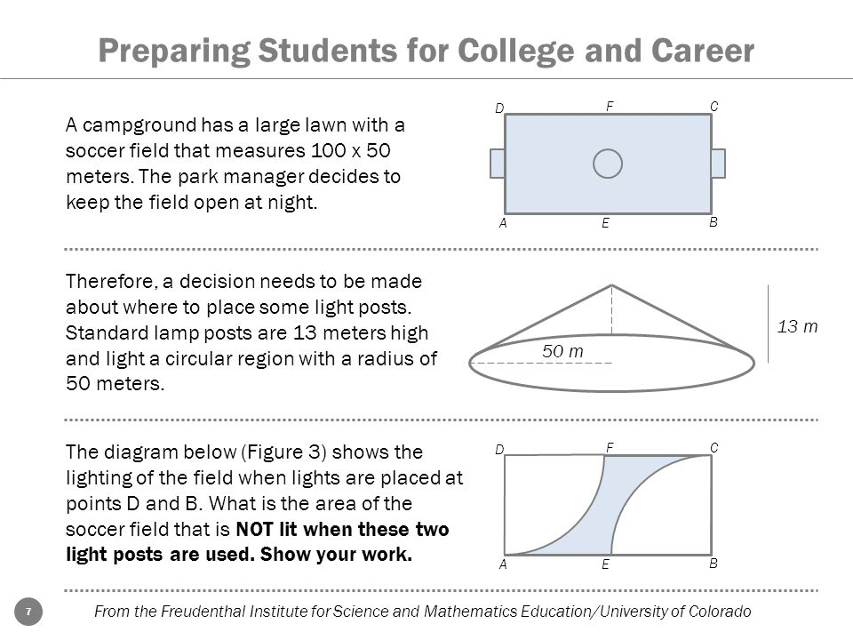 7 Preparing Students for College and Career From the Freudenthal Institute for Science and Mathematics Education/University of Colorado A campground h