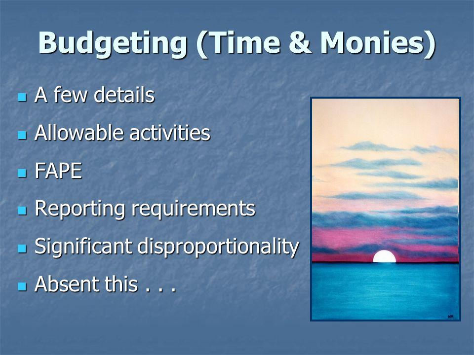 Budgeting (Time & Monies) A few details A few details Allowable activities Allowable activities FAPE FAPE Reporting requirements Reporting requirement