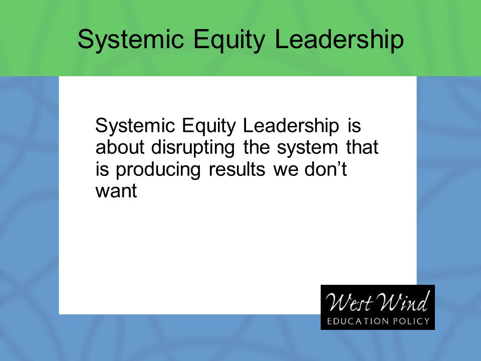 Systemic Equity Leadership is about disrupting the system that is producing results we dont want Systemic Equity Leadership