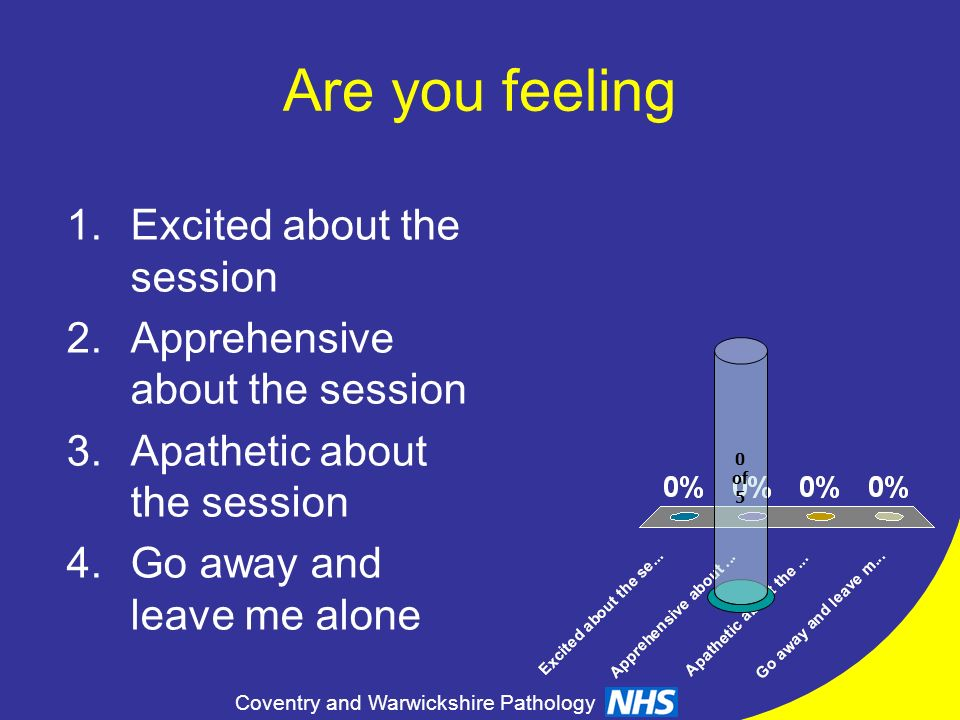 Coventry and Warwickshire Pathology Are you feeling 0 of 5 1.Excited about the session 2.Apprehensive about the session 3.Apathetic about the session