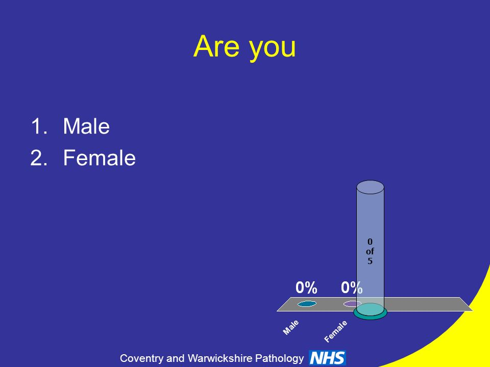 Coventry and Warwickshire Pathology Are you 1.Male 2.Female 0 of 5