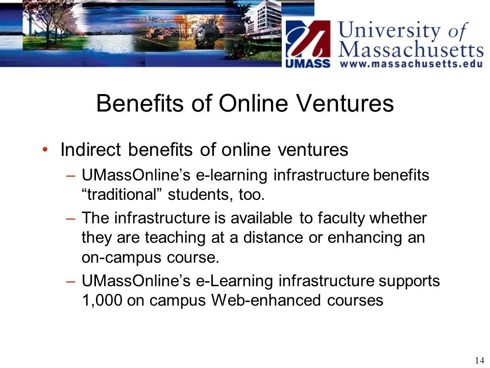 14 Benefits of Online Ventures Indirect benefits of online ventures –UMassOnlines e-learning infrastructure benefits traditional students, too. –The i