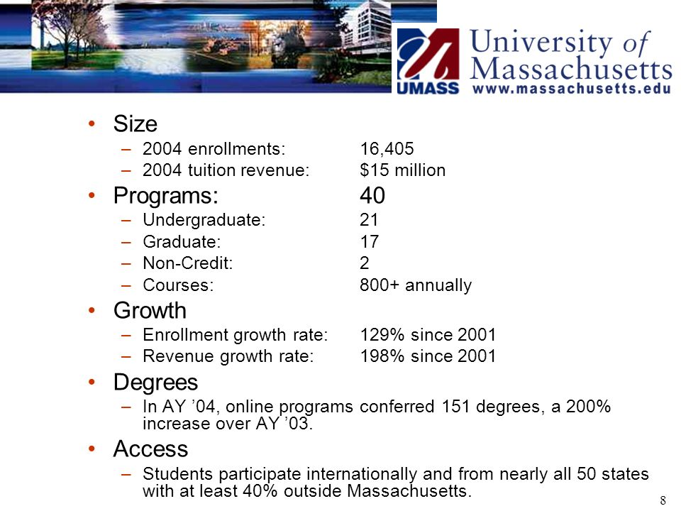 8 Size –2004 enrollments: 16,405 –2004 tuition revenue: $15 million Programs: 40 –Undergraduate:21 –Graduate: 17 –Non-Credit:2 –Courses: 800+ annually Growth –Enrollment growth rate:129% since 2001 –Revenue growth rate: 198% since 2001 Degrees –In AY 04, online programs conferred 151 degrees, a 200% increase over AY 03.