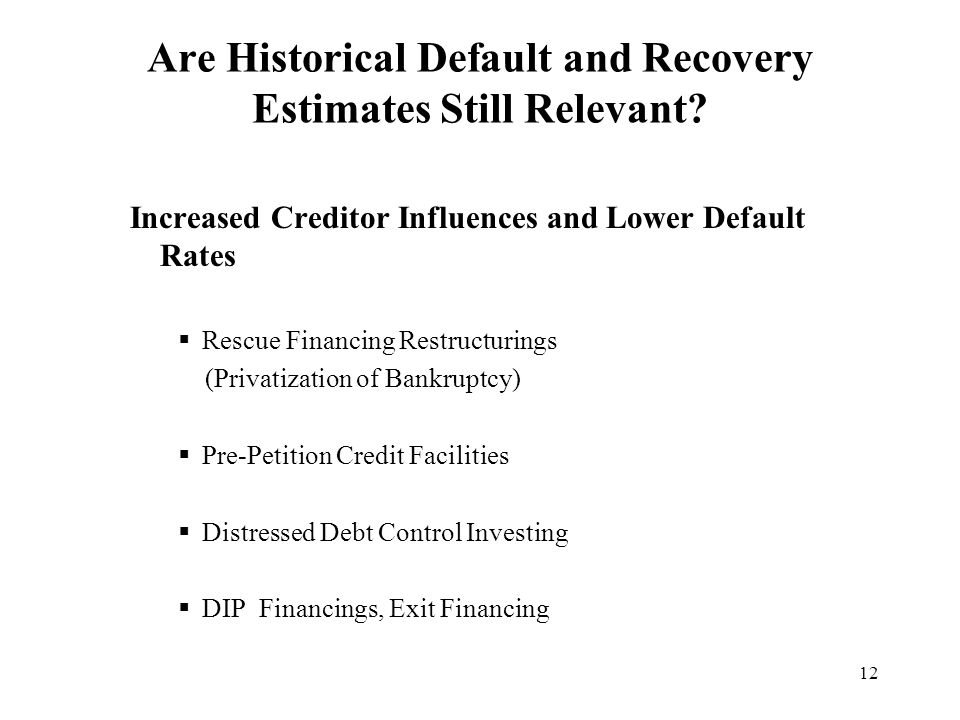 12 Are Historical Default and Recovery Estimates Still Relevant.
