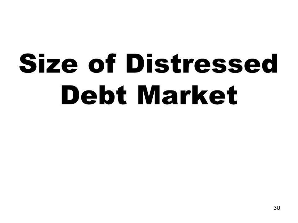 30 Size of Distressed Debt Market