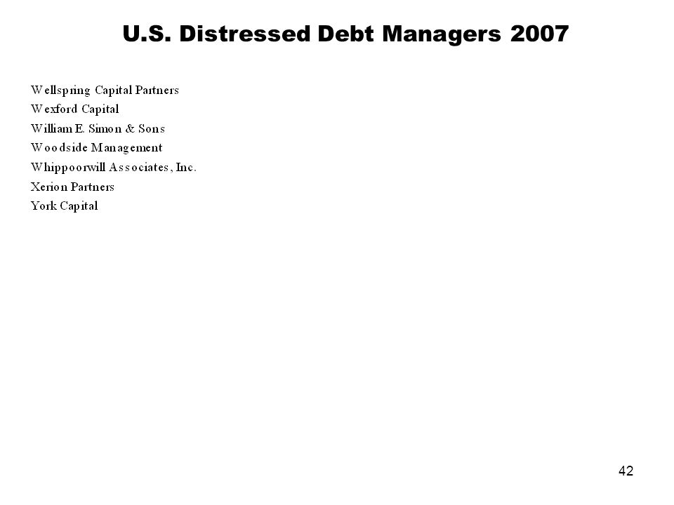 42 U.S. Distressed Debt Managers 2007