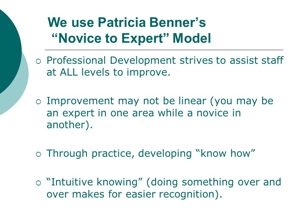 We use Patricia Benners Novice to Expert Model Professional Development strives to assist staff at ALL levels to improve. Improvement may not be linea