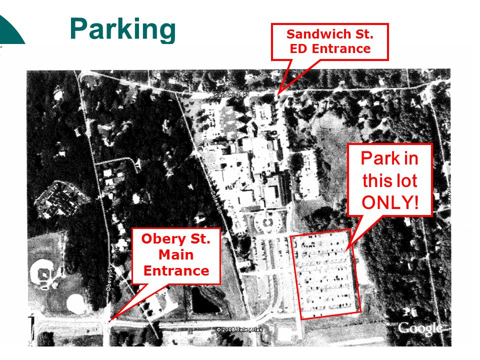 Parking Lot E Park in this lot ONLY! Obery St. Main Entrance Sandwich St. ED Entrance