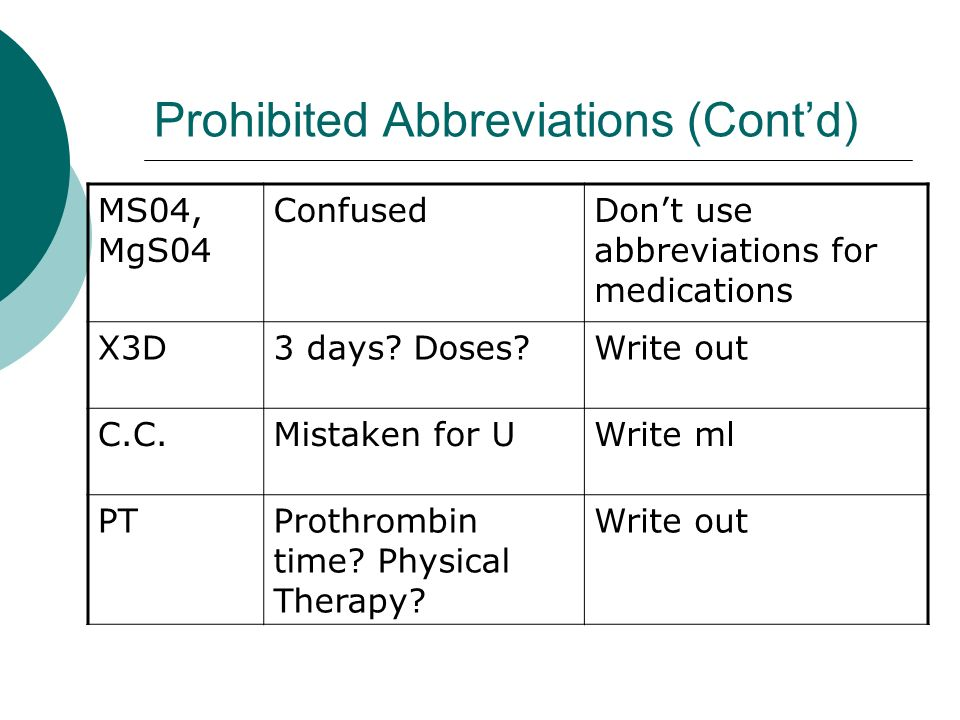 Prohibited Abbreviations (Contd) MS04, MgS04 ConfusedDont use abbreviations for medications X3D3 days? Doses?Write out C.C.Mistaken for UWrite ml PTPr