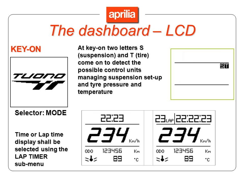 Selector: MODE Press the SET key to display battery voltage (only when vehicle is stopped) and vehicle speed Hold the SET key to see the MENU page The dashboard – LCD
