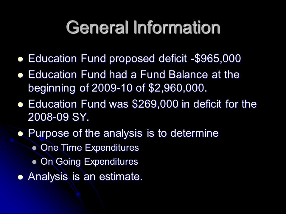 General Information Education Fund proposed deficit -$965,000 Education Fund proposed deficit -$965,000 Education Fund had a Fund Balance at the beginning of of $2,960,000.