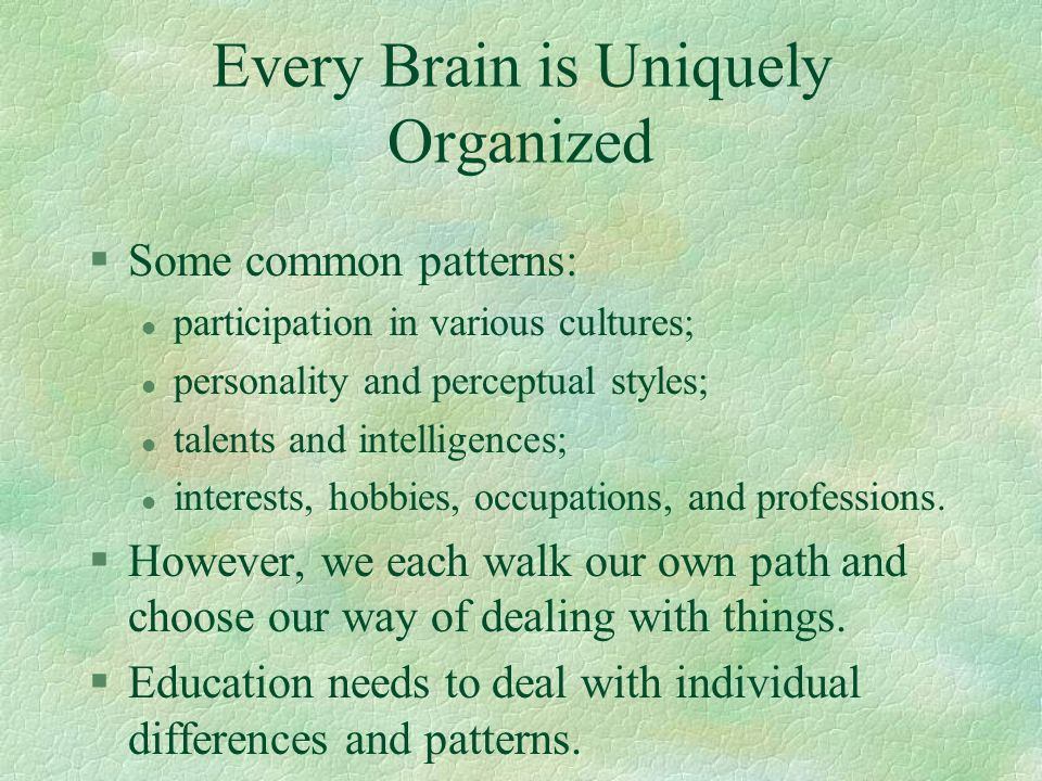 Every Brain is Uniquely Organized §Some common patterns: l participation in various cultures; l personality and perceptual styles; l talents and intel