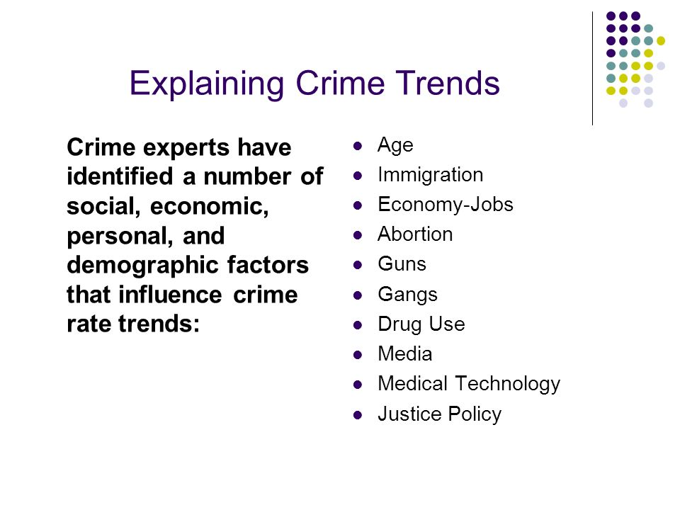 Explaining Crime Trends Crime experts have identified a number of social, economic, personal, and demographic factors that influence crime rate trends