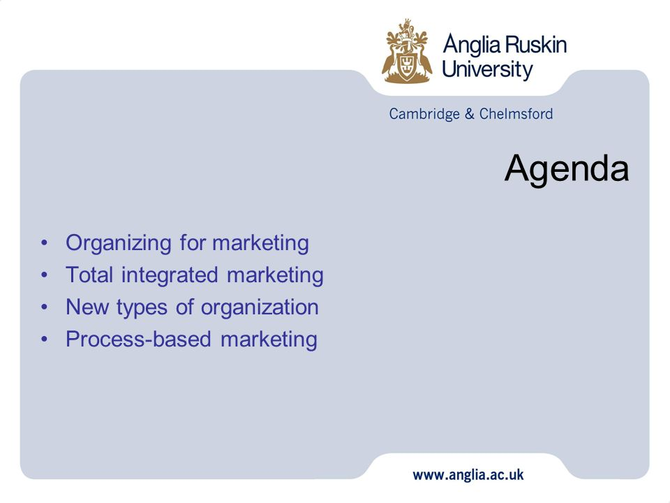 Agenda Organizing for marketing Total integrated marketing New types of organization Process-based marketing