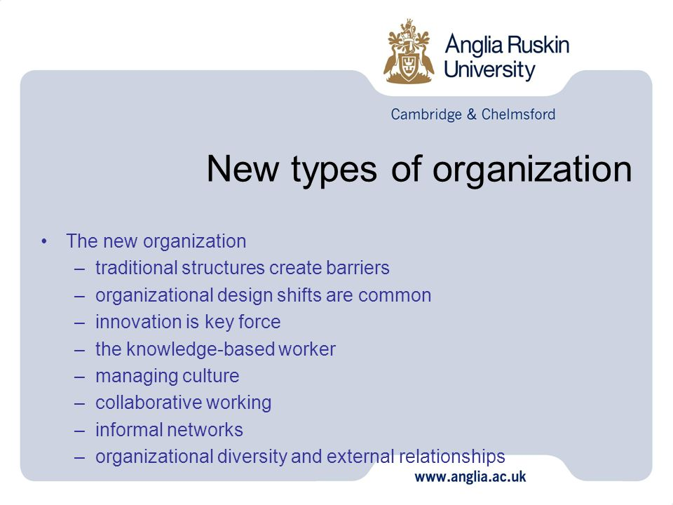 New types of organization The new organization –traditional structures create barriers –organizational design shifts are common –innovation is key for