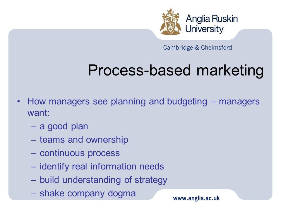 Process-based marketing How managers see planning and budgeting – managers want: –a good plan –teams and ownership –continuous process –identify real