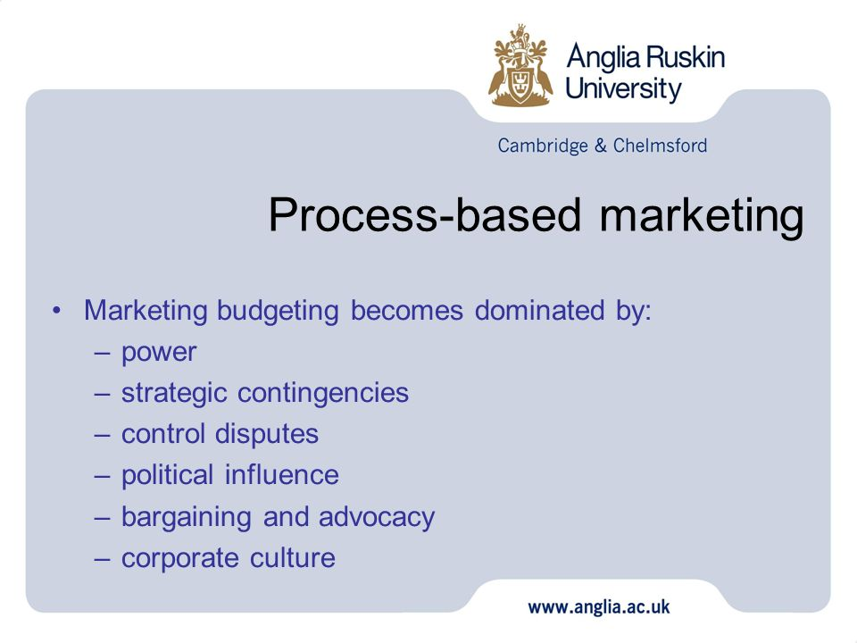 Process-based marketing Marketing budgeting becomes dominated by: –power –strategic contingencies –control disputes –political influence –bargaining a