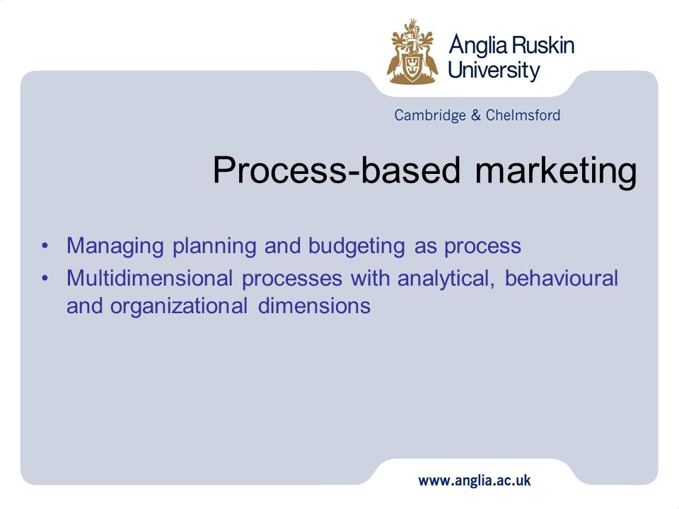 Process-based marketing Managing planning and budgeting as process Multidimensional processes with analytical, behavioural and organizational dimensio