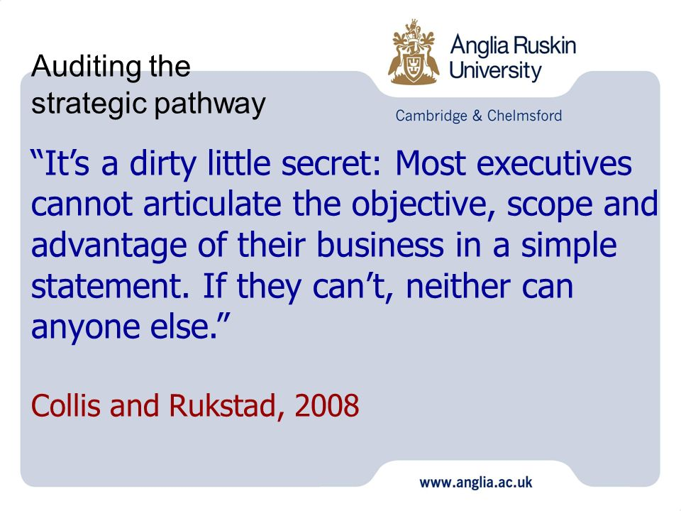 Auditing the strategic pathway Its a dirty little secret: Most executives cannot articulate the objective, scope and advantage of their business in a