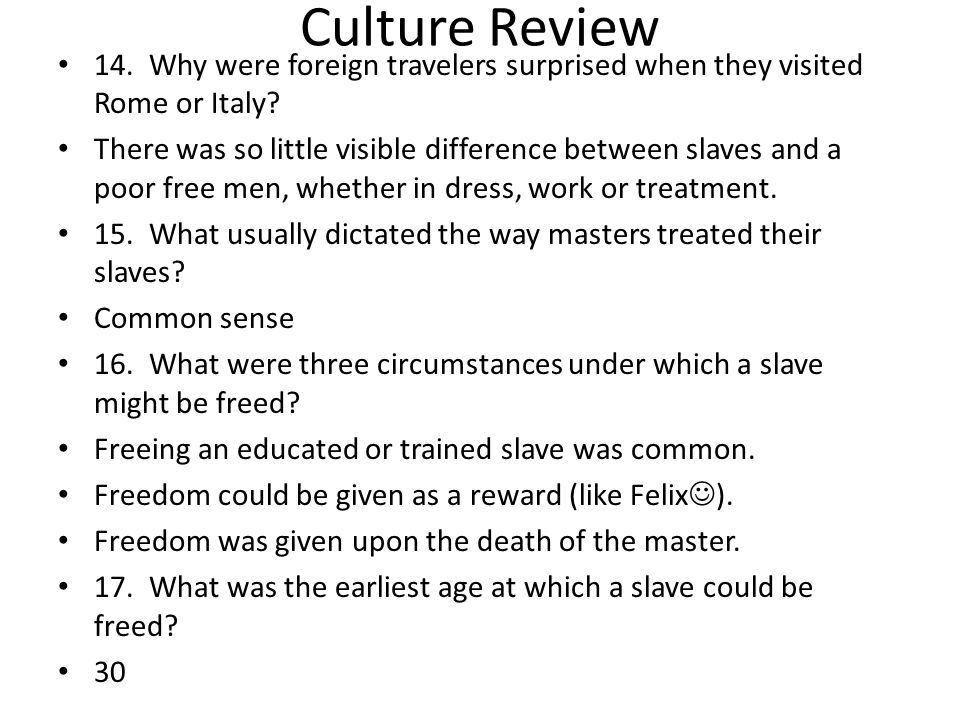 Culture Review 18.What was manumissio.