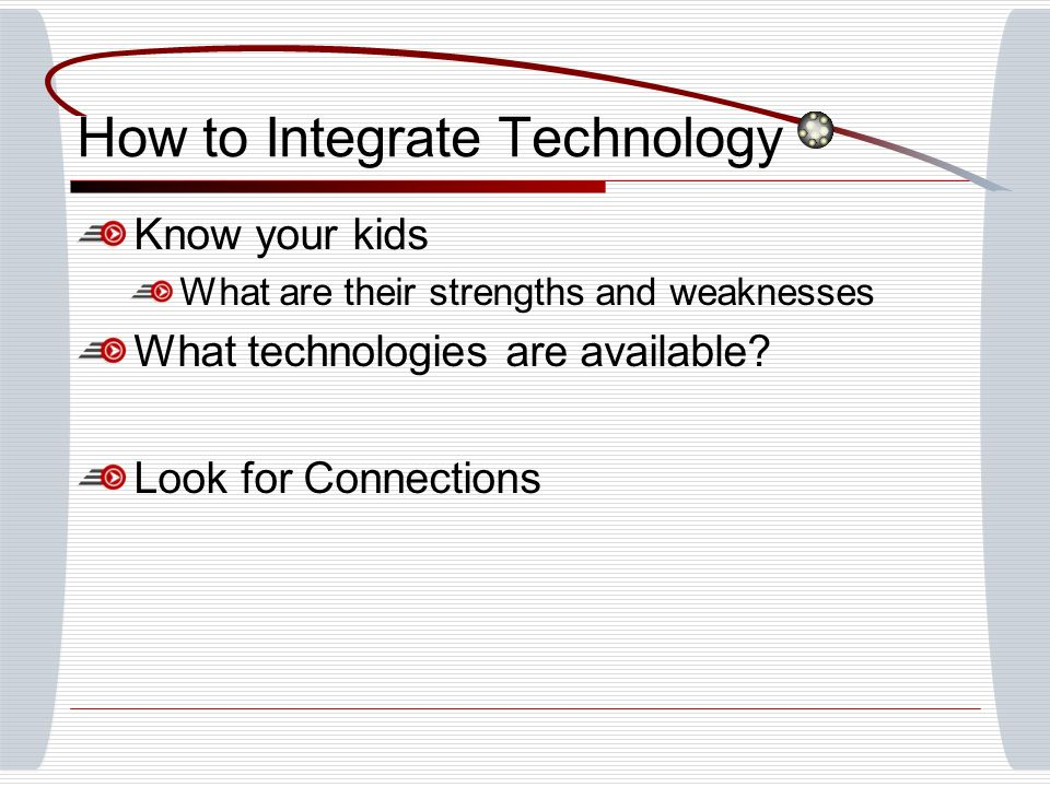 How to Integrate Technology Know your kids What are their strengths and weaknesses What technologies are available? Look for Connections