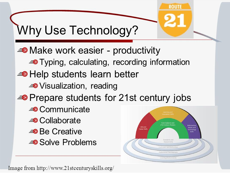 Why Use Technology? Make work easier - productivity Typing, calculating, recording information Help students learn better Visualization, reading Prepa