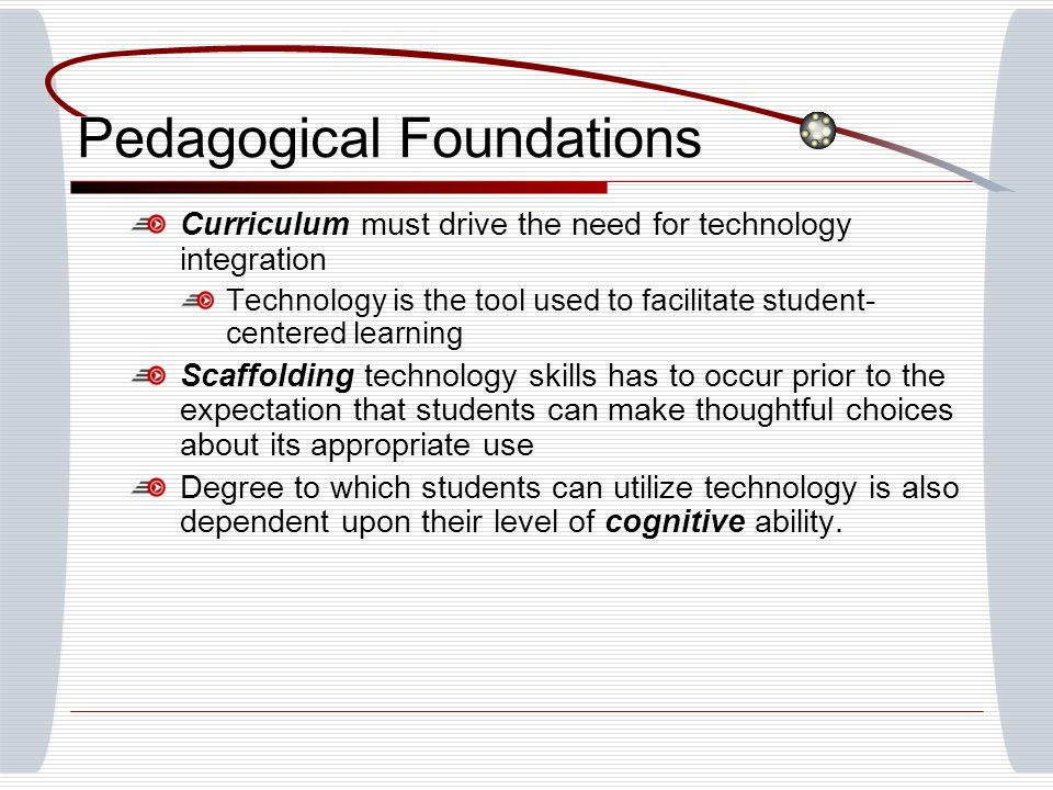 Pedagogical Foundations Curriculum must drive the need for technology integration Technology is the tool used to facilitate student- centered learning