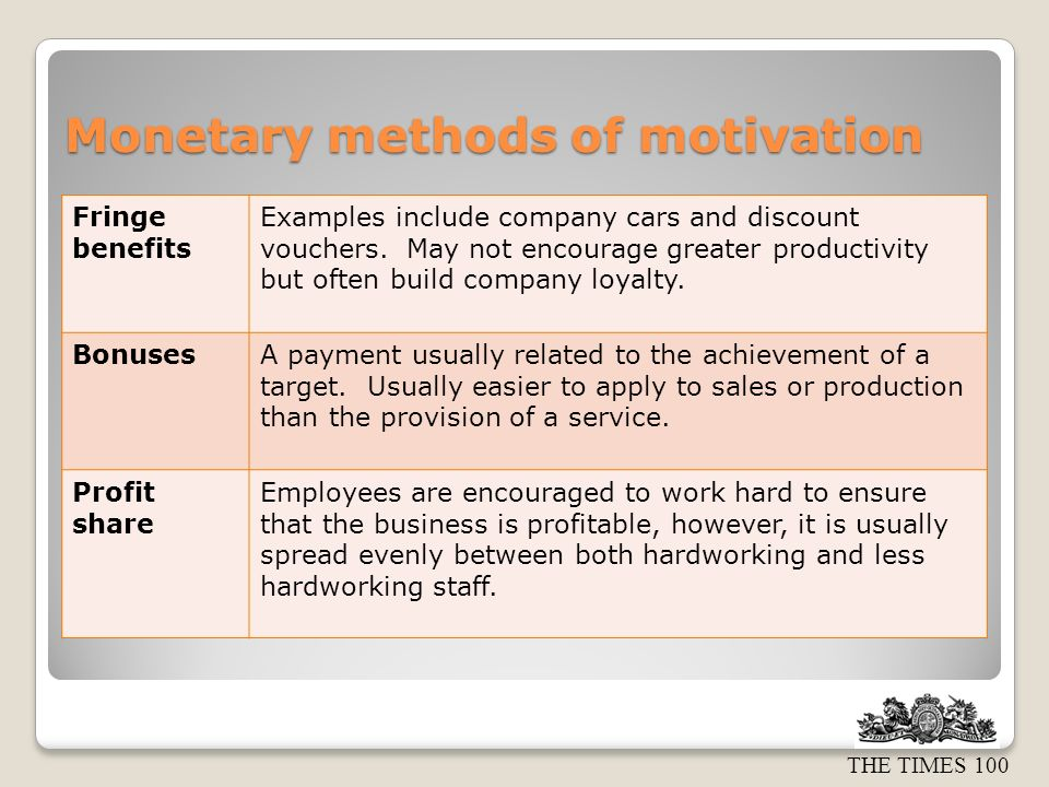 THE TIMES 100 Monetary methods of motivation Fringe benefits Examples include company cars and discount vouchers. May not encourage greater productivi