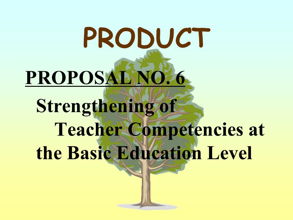 PRODUCT PROPOSAL NO. 6 Strengthening of Teacher Competencies at the Basic Education Level