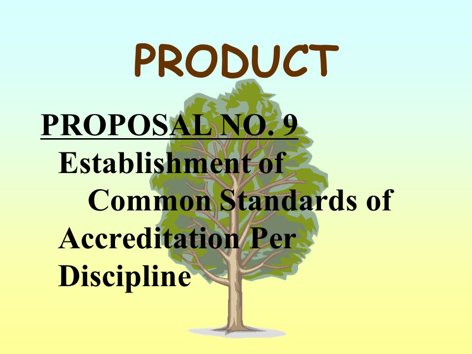 PRODUCT PROPOSAL NO. 9 Establishment of Common Standards of Accreditation Per Discipline