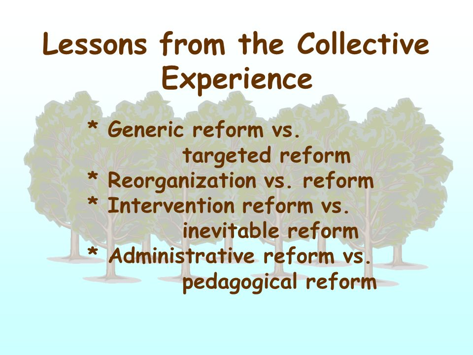 Lessons from the Collective Experience * Generic reform vs. targeted reform * Reorganization vs. reform * Intervention reform vs. inevitable reform *