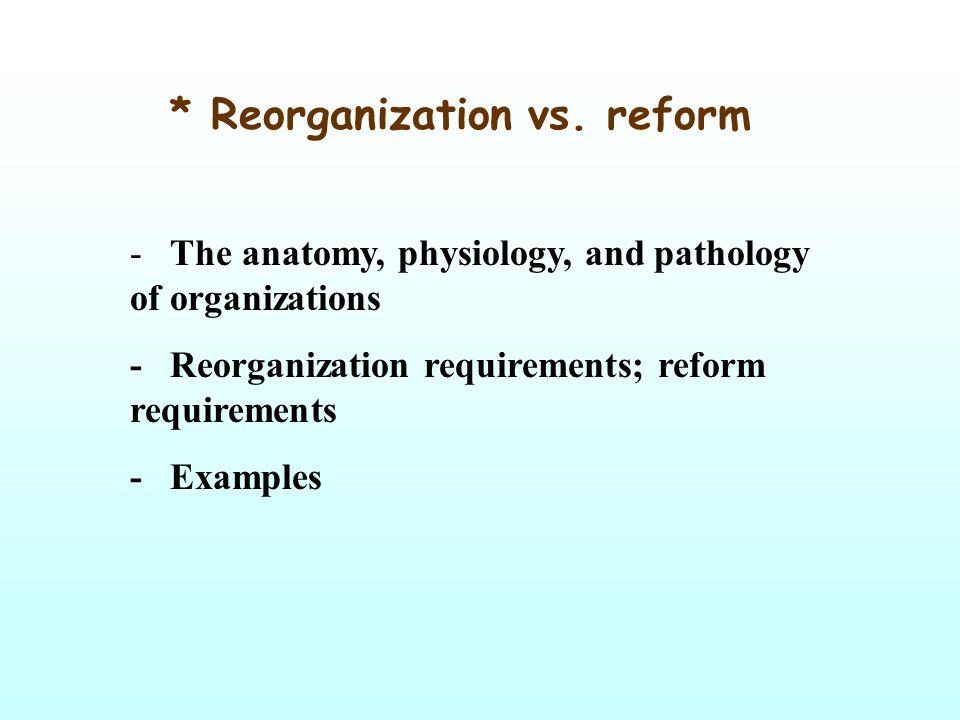 * Reorganization vs.