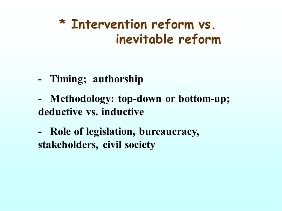 * Intervention reform vs. inevitable reform - Timing; authorship - Methodology: top-down or bottom-up; deductive vs. inductive - Role of legislation,