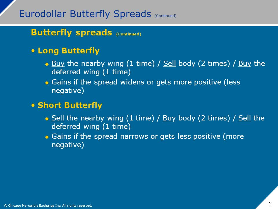© Chicago Mercantile Exchange Inc. All rights reserved. 21 Eurodollar Butterfly Spreads (Continued) Butterfly spreads (Continued) Long Butterfly Buy t