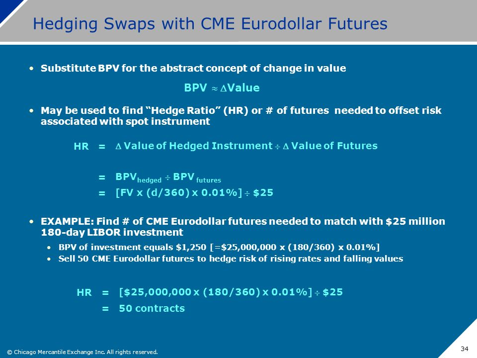 © Chicago Mercantile Exchange Inc. All rights reserved. 34 Hedging Swaps with CME Eurodollar Futures Substitute BPV for the abstract concept of change