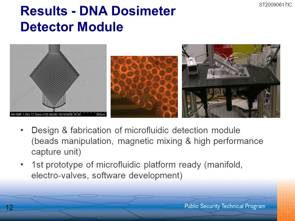 Results - DNA Dosimeter Detector Module Design & fabrication of microfluidic detection module (beads manipulation, magnetic mixing & high performance