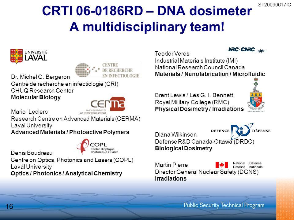 CRTI 06-0186RD – DNA dosimeter A multidisciplinary team! Dr. Michel G. Bergeron Centre de recherche en infectiologie (CRI) CHUQ Research Center Molecu