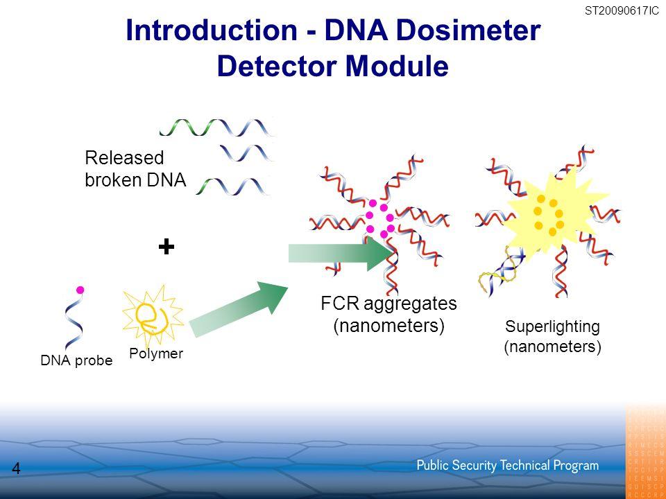 FCR aggregates (nanometers) Polymer DNA probe Superlighting (nanometers) Released broken DNA Introduction - DNA Dosimeter Detector Module 4