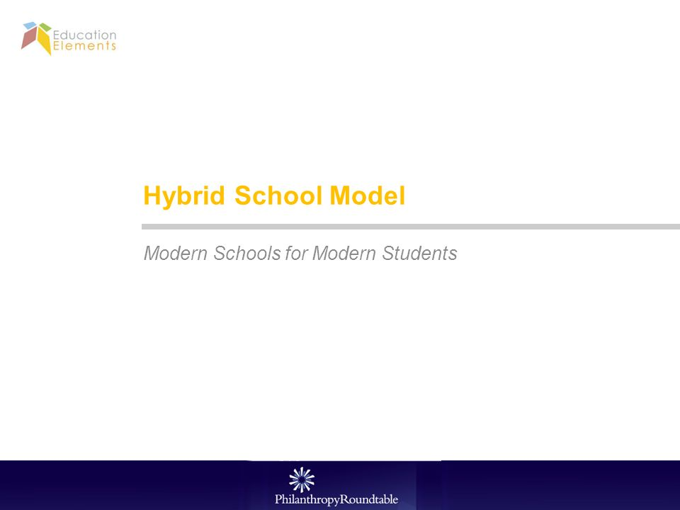 Hybrid School Model Modern Schools for Modern Students 12/31/2013 Education Elements Confidential 1