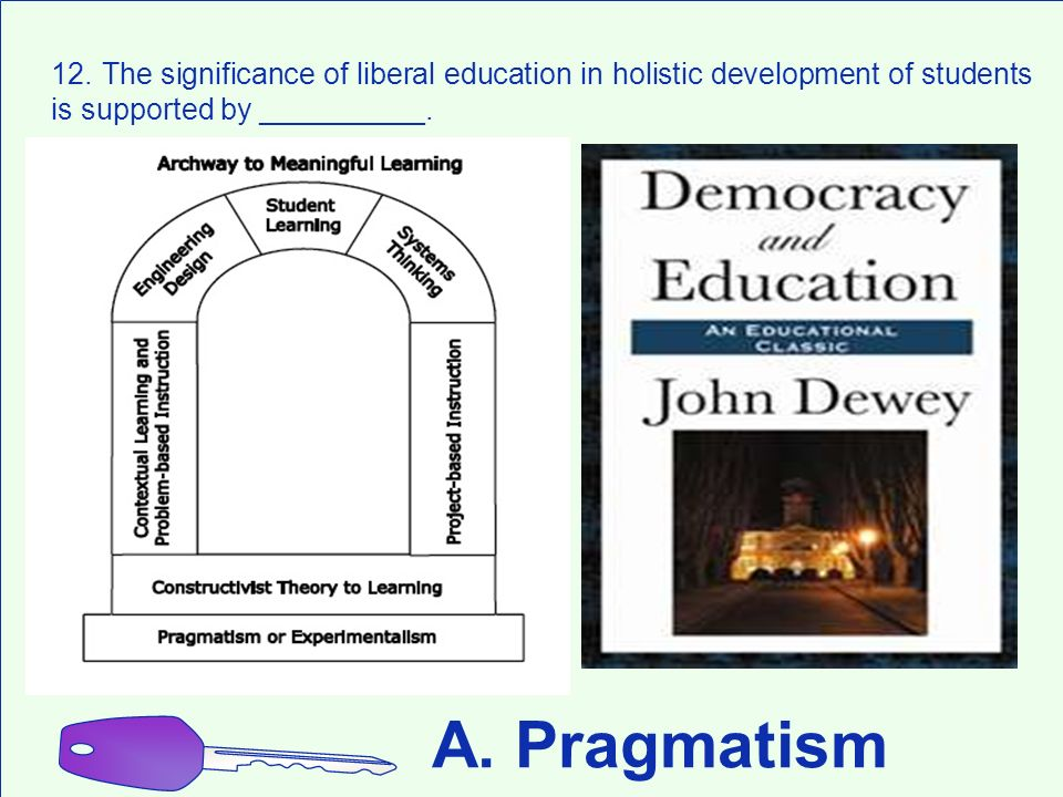 A. Pragmatism 12. The significance of liberal education in holistic development of students is supported by __________.