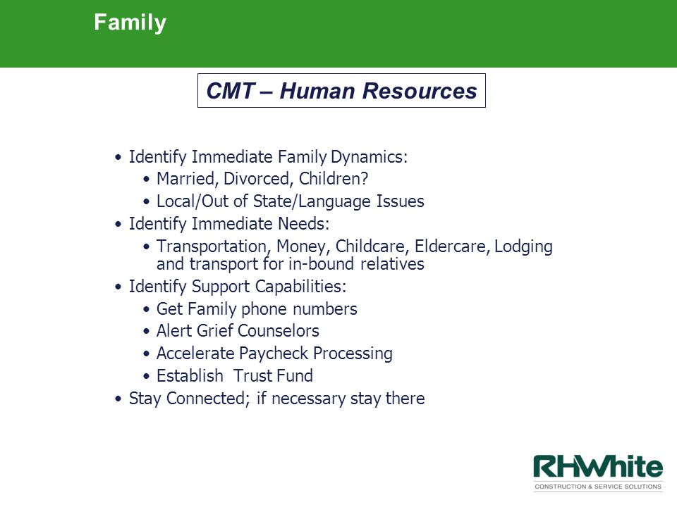 Family Identify Immediate Family Dynamics: Married, Divorced, Children? Local/Out of State/Language Issues Identify Immediate Needs: Transportation, M