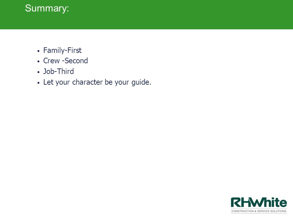 Summary: Family-First Crew -Second Job-Third Let your character be your guide.