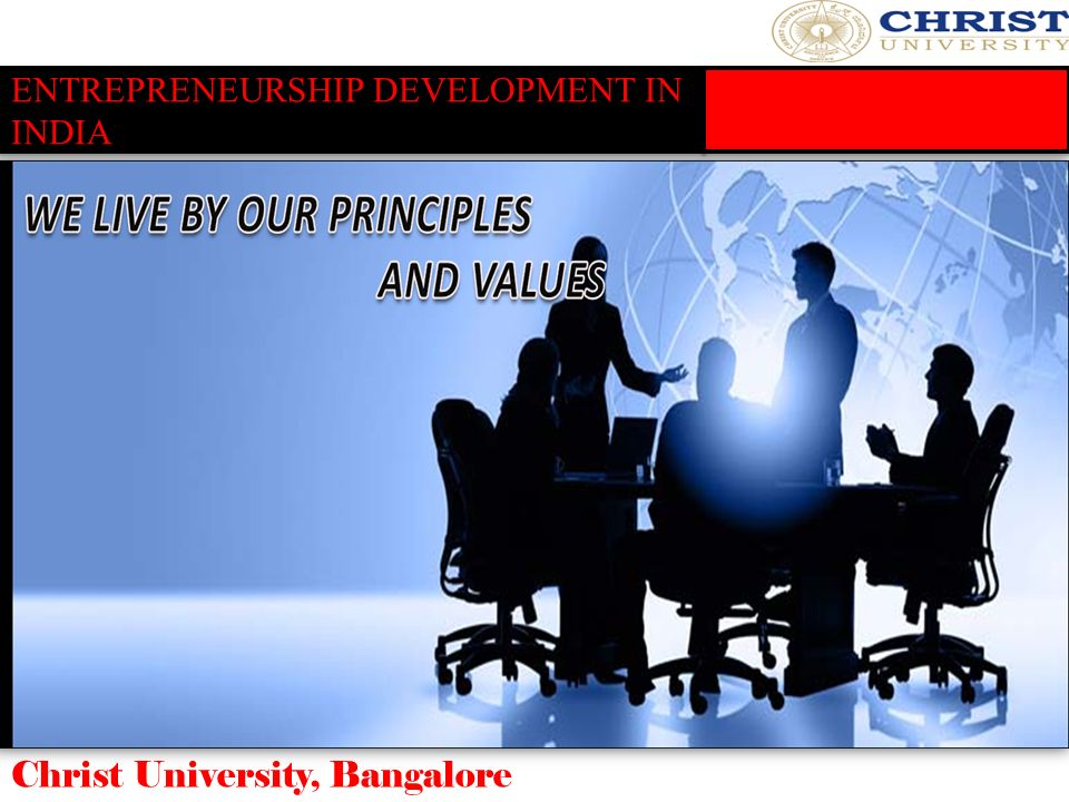 ENTREPRENEURSHIP DEVELOPMENT IN INDIA Christ University, Bangalore