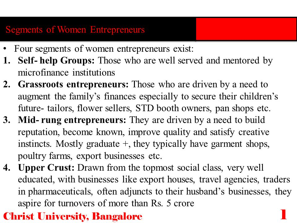 Segments of Women Entrepreneurs Christ University, Bangalore 1010 Four segments of women entrepreneurs exist: 1.Self- help Groups: Those who are well