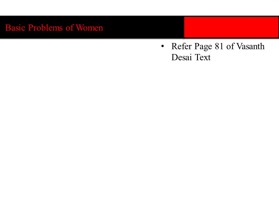 Basic Problems of Women Refer Page 81 of Vasanth Desai Text
